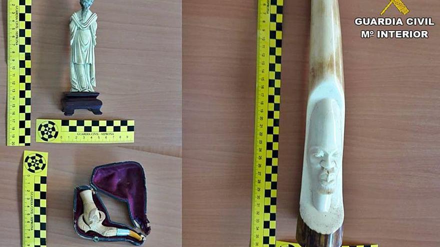 Intervienen piezas de marfil vendidas en internet por valor de 3.000 euros