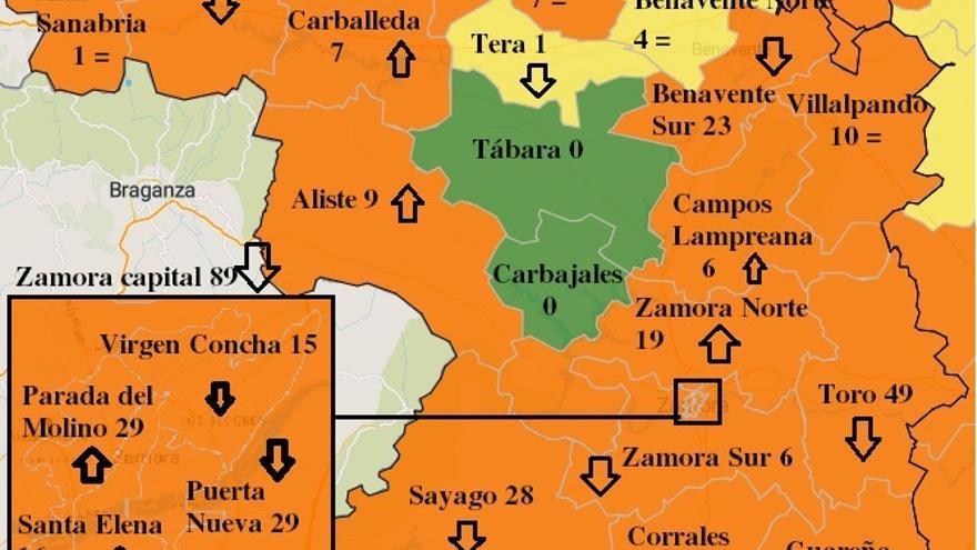Cuatro zonas básicas de salud de Zamora abandonan el color naranja de máximo riesgo COVID