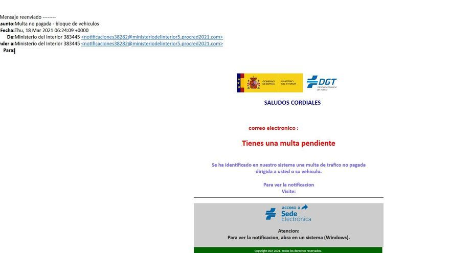 Cuidado con los avisos de DGT: alertan de una estafa masiva a través del mail