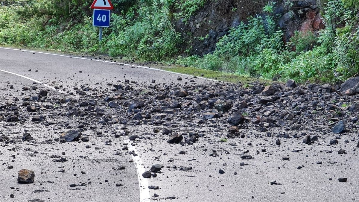 Desprendimientos en la carretera de Gallegos, en Barlovento, La Palma.
