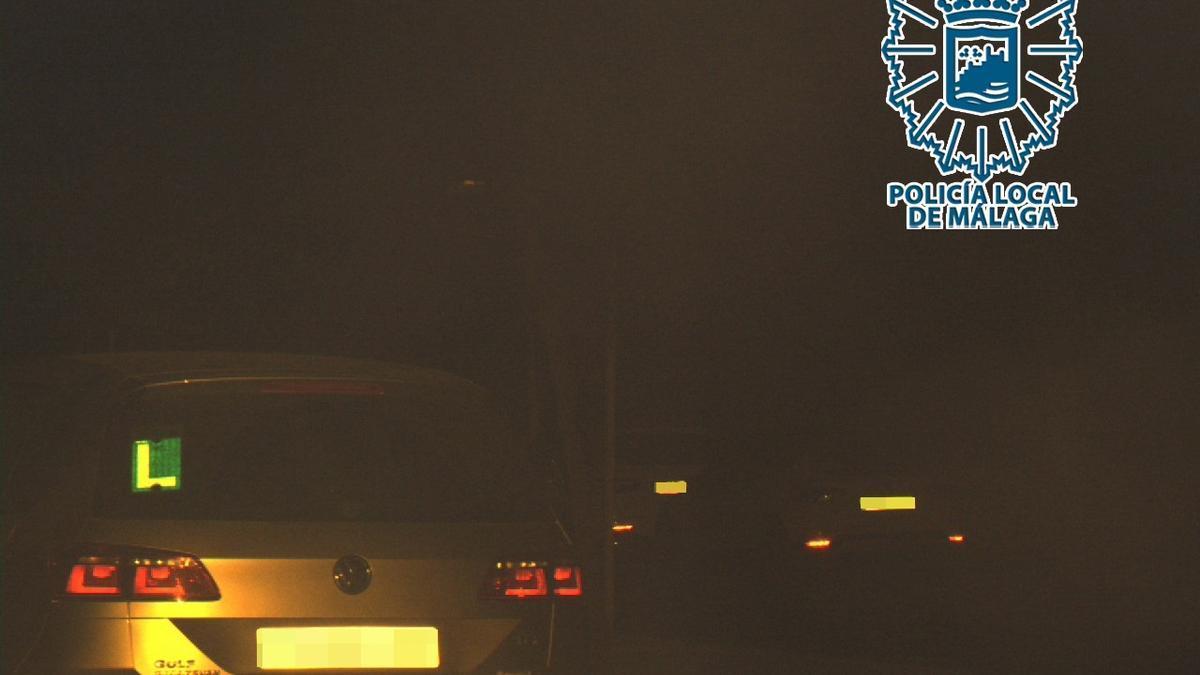 Captura de imagen de un vehículo pasando por un radar fijo de Málaga a 160 km por hora