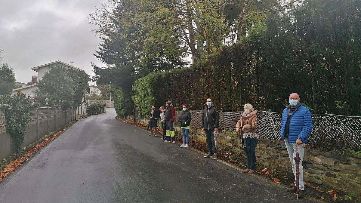Vecinos, ayer, junto a la finca, en la que se ve la zona podada y, al fondo, los árboles que invaden la vía. |   // L. O.