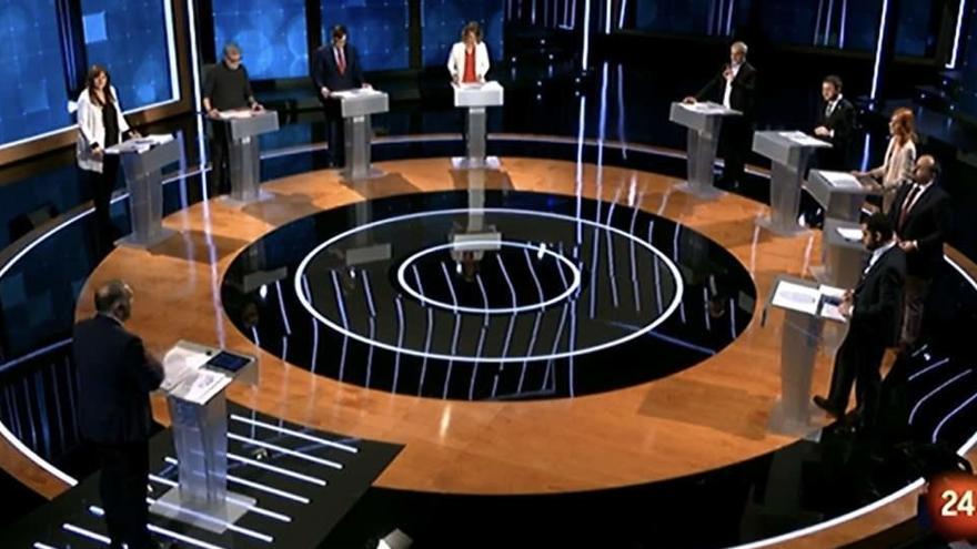Los candidatos de ERC, JxCat, la CUP y el PDeCAT utilizan el catalán en el debate de TVE