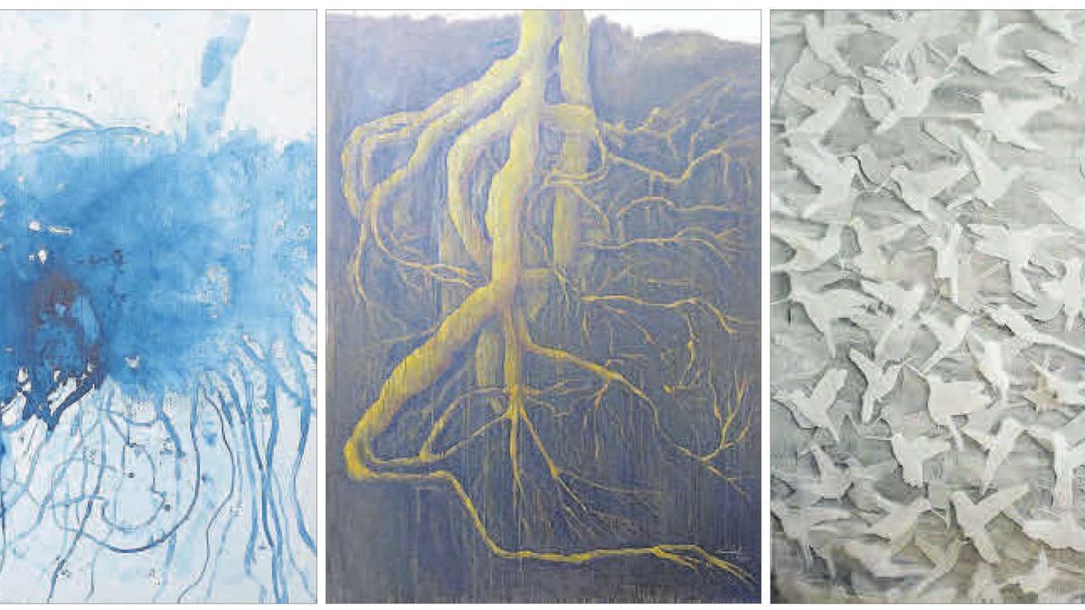 Varias de las obras que Manuel Rodríguez Méndez expone en 'El cielo en la tierra'.
