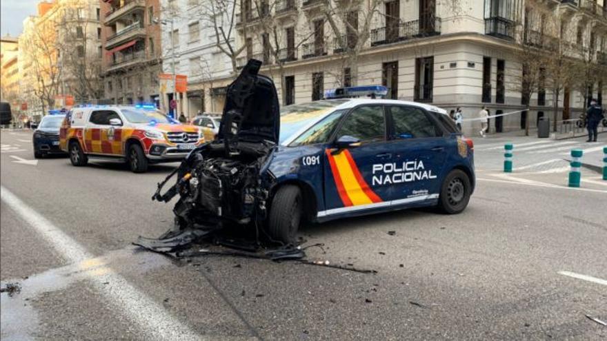 Persecución policial en Madrid tras un accidente en Serrano: hay siete heridos, cuatro de ellos policías