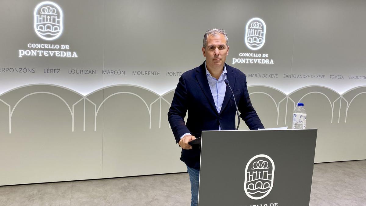 Rafa Domínguez durante su comparecencia de esta mañana.