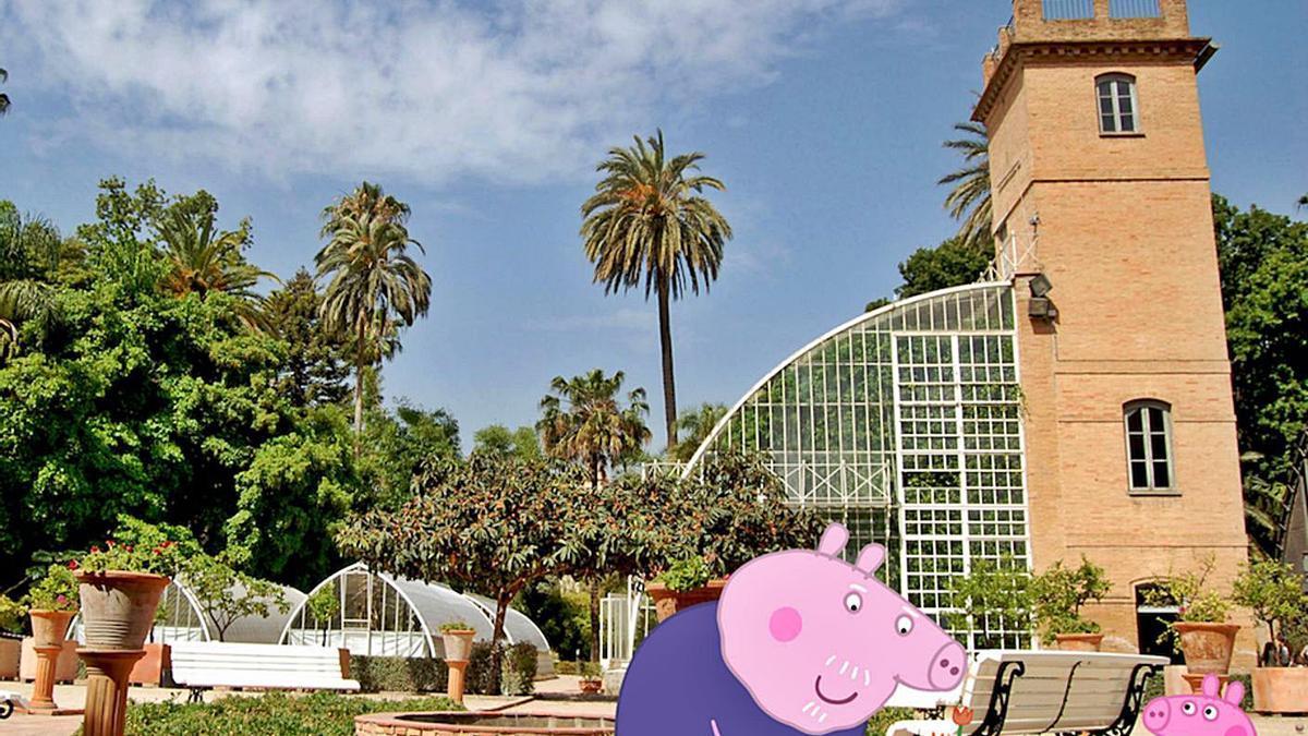 Una recreació de la proposta 'Visita el Botànic amb Peppa Pig'.   UV