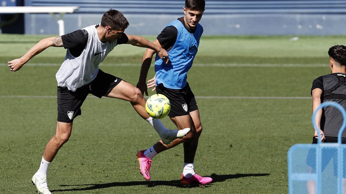 Imagen del entrenamiento del Málaga CF de este miércoles.