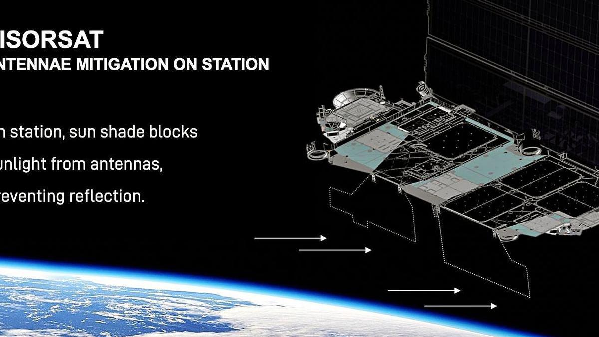 Los nuevos satélites estarán dotados de pantallas negras que eviten el reflejo del Sol en sus partes brillantes.     SPACE X