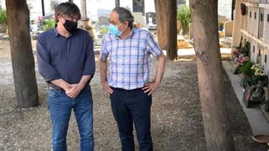 Quim Torra i Carles Puigdemont visiten la tomba de Machado a Cotlliure