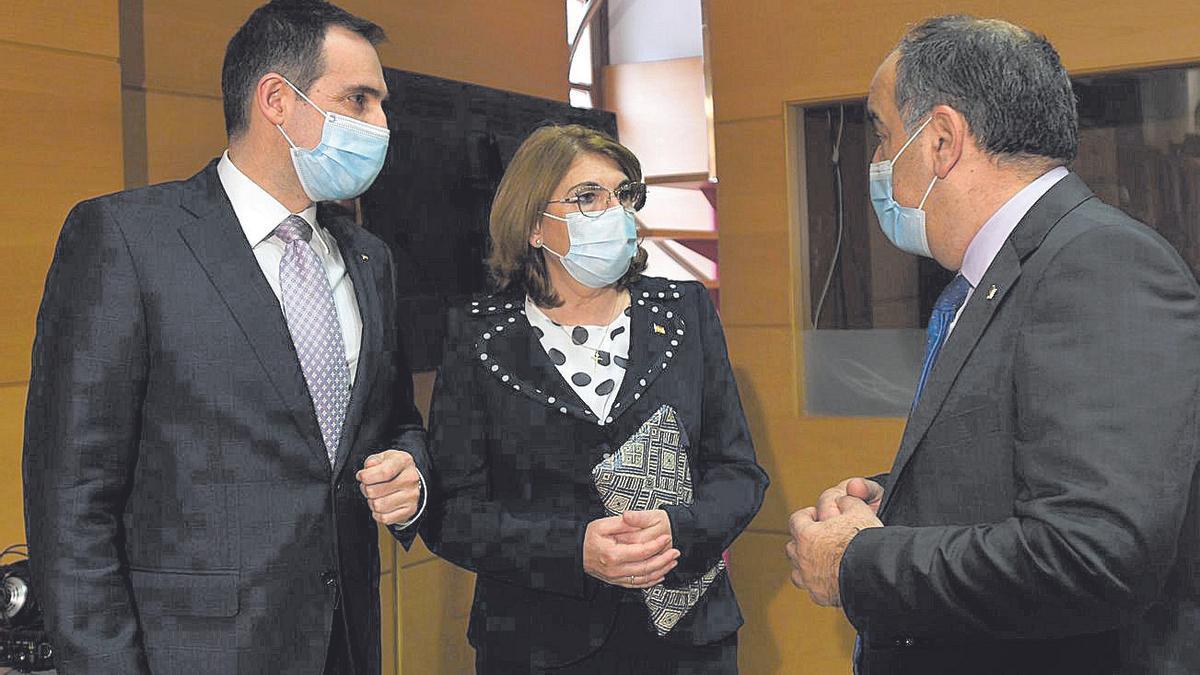 Mabel Campuzano, Juan José Liarte (dch.) y Francisco Carreras, expulsados de Vox