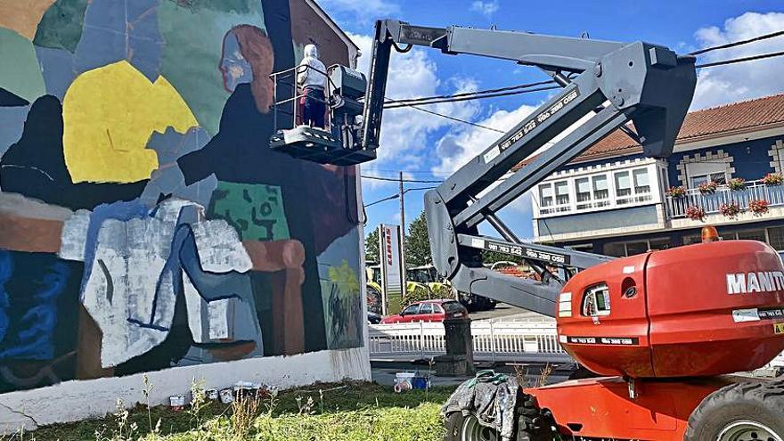 Mural para María Antonia Dans en el concello de Curtis