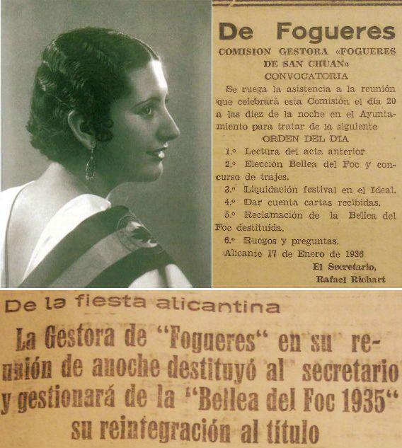 Angelita Ramírez López, Bellea del Foc 1935, y Victoria Pastor, una de sus Damas, fueron destituidas de sus cargos por negarse a asistir a un acto y posteriormente restituidas