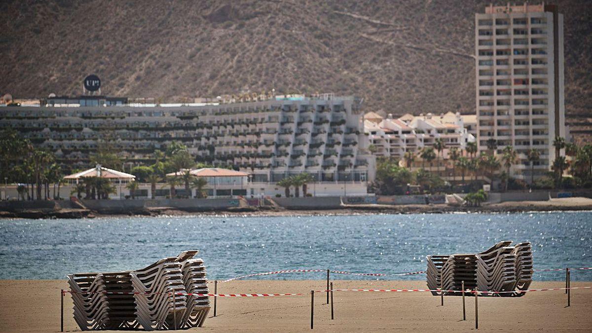 Varios establecimientos hoteleros en la costa tinerfeña.