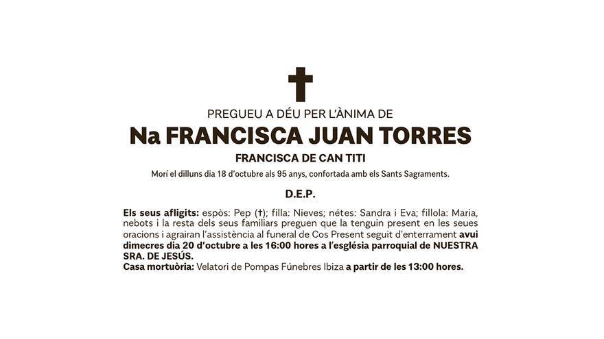 Esquela Francisca Juan Torres