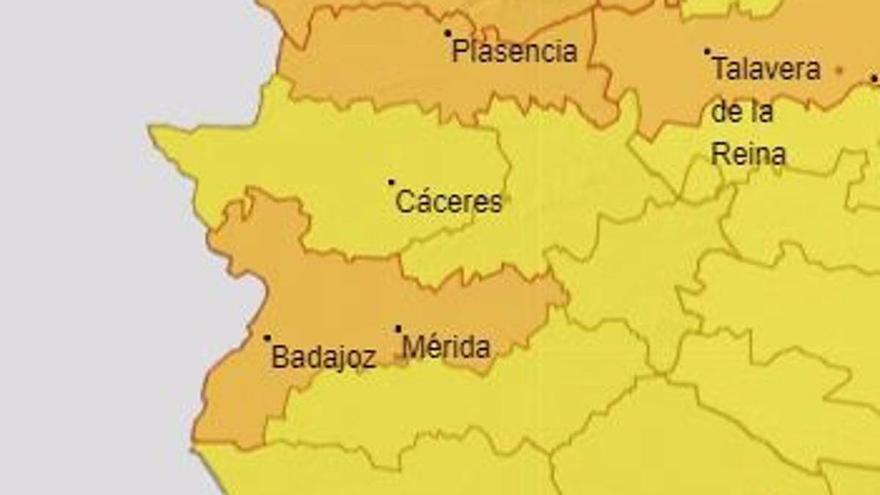 Los grandes valles y el norte de Extremadura, en alerta naranja
