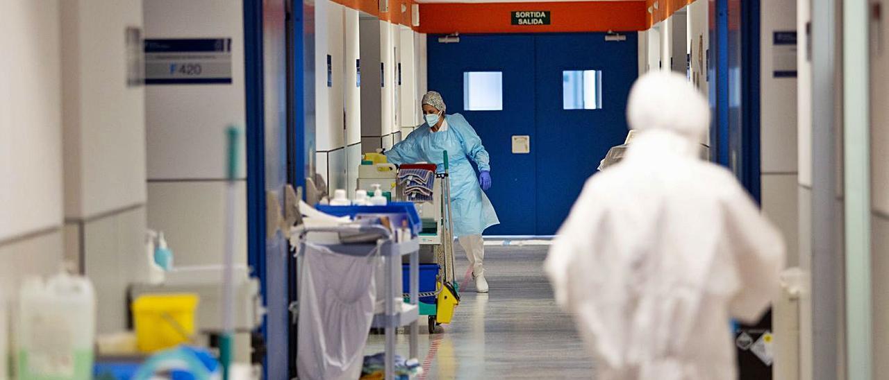 Pasillo central de la planta Covid del Hospital Can Misses.