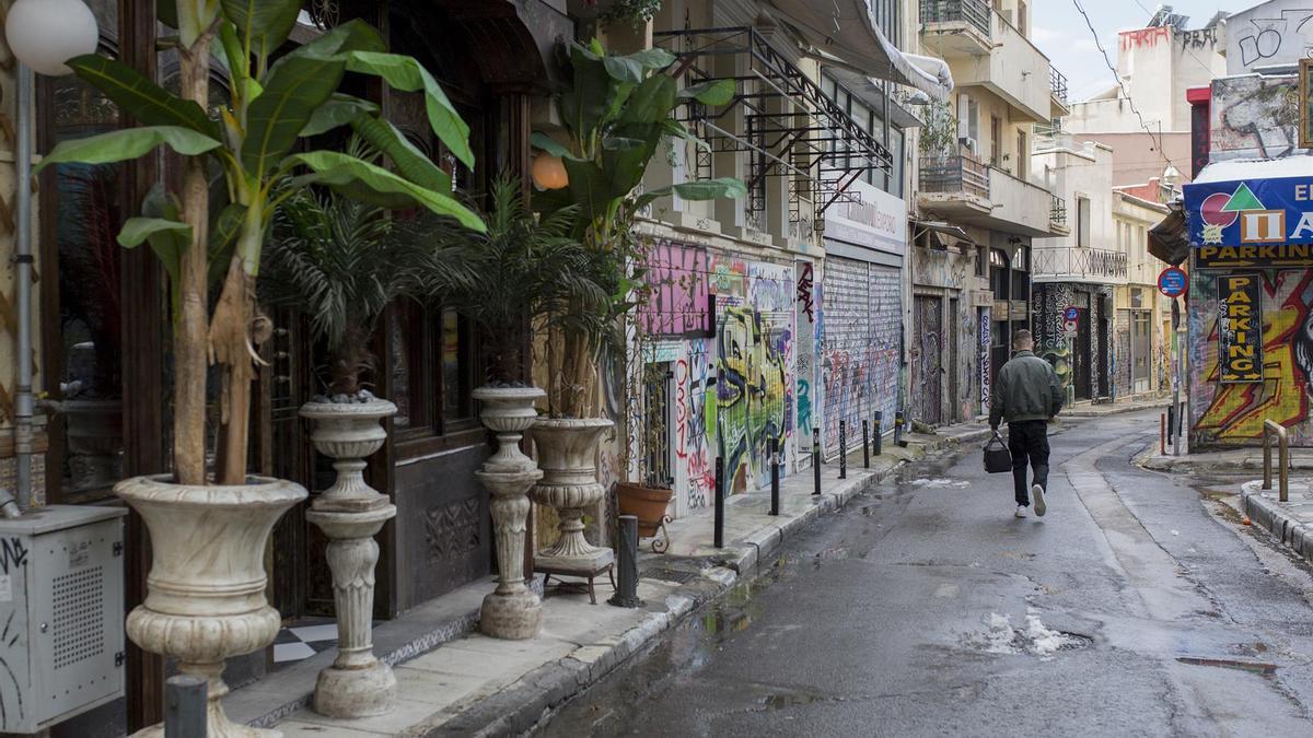 Un bario confinado de Grecia.