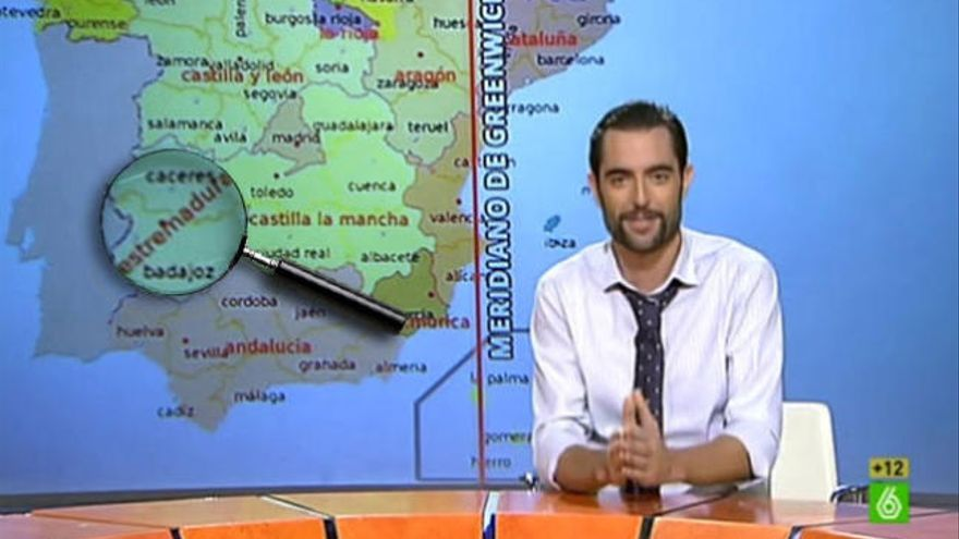 'Extremadura' con 'S' en el mapa de España de 'El Intermedio'