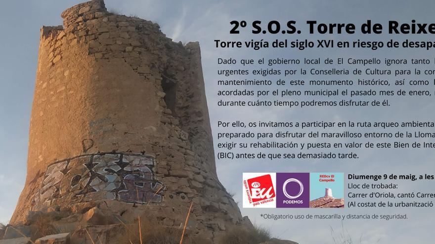 Tres partidos organizan una marcha hasta la Torre de Reixes para reclaman una actuación urgente en El Campello
