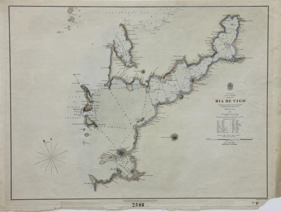 Plano de la ría de Vigo, publicado en Londres (1857)
