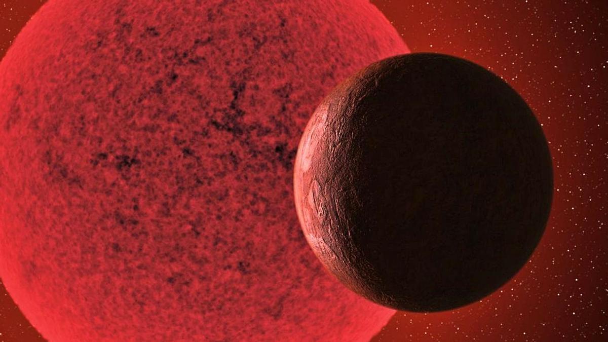 Recreación de la nueva supertierra orditando alrededor de una estrella enana..     E.D.