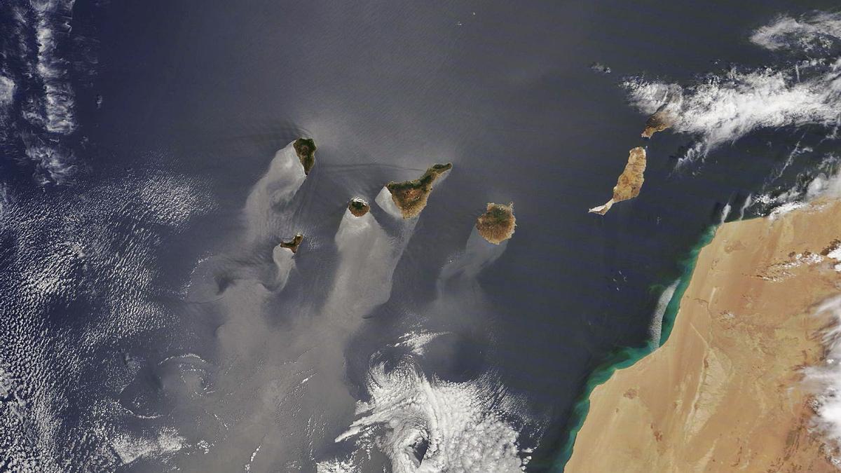 Vista del Archipiélago canario, ayer. | | TERRA/MODIS. NASA