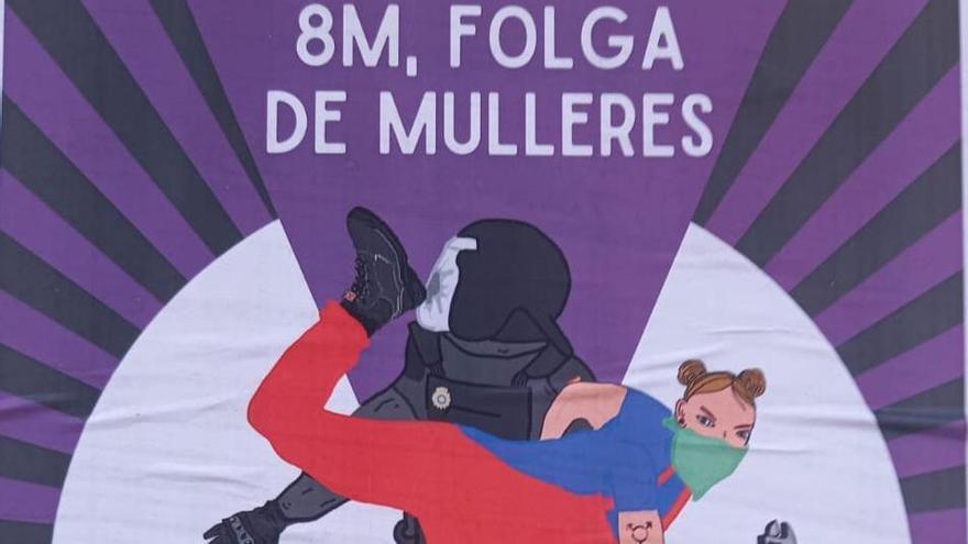 """La polémica del """"taconazo"""": el cartel del 8M que crispa a la policía"""