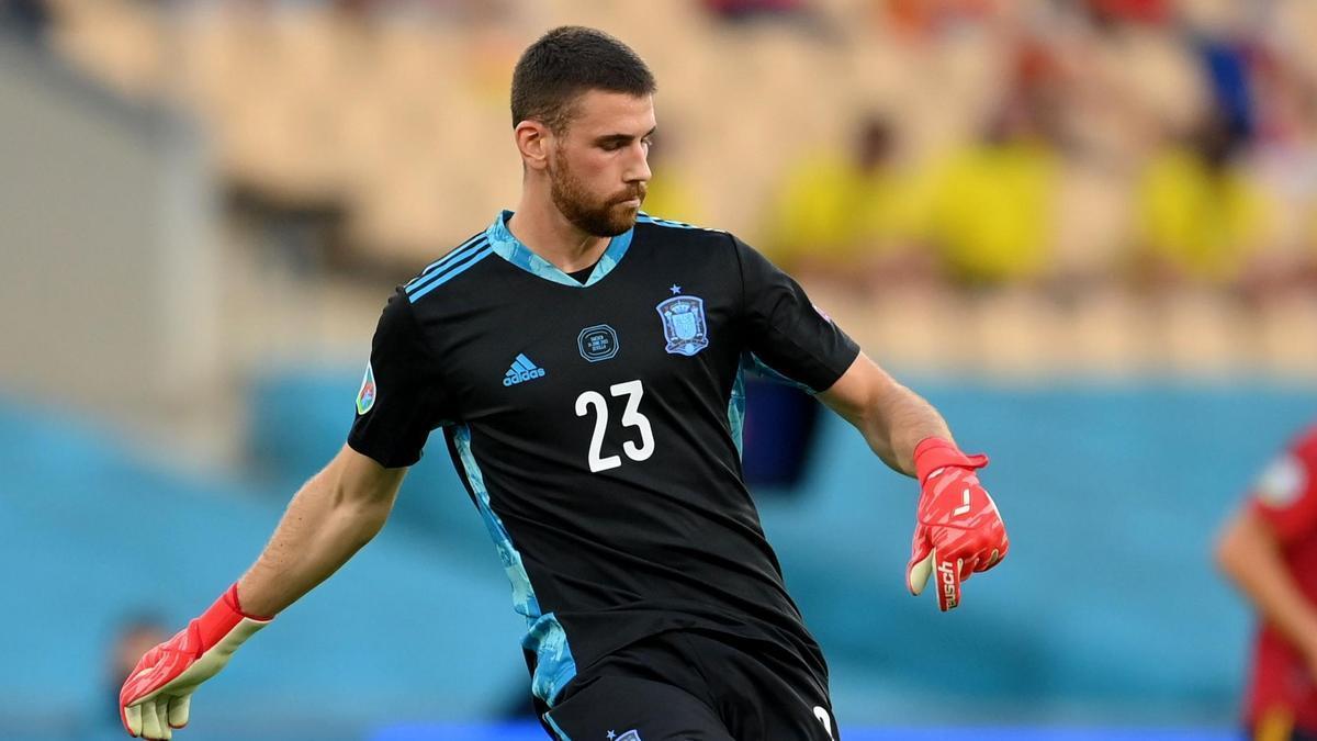 Unai Simón durante un partido con la selección española de fútbol