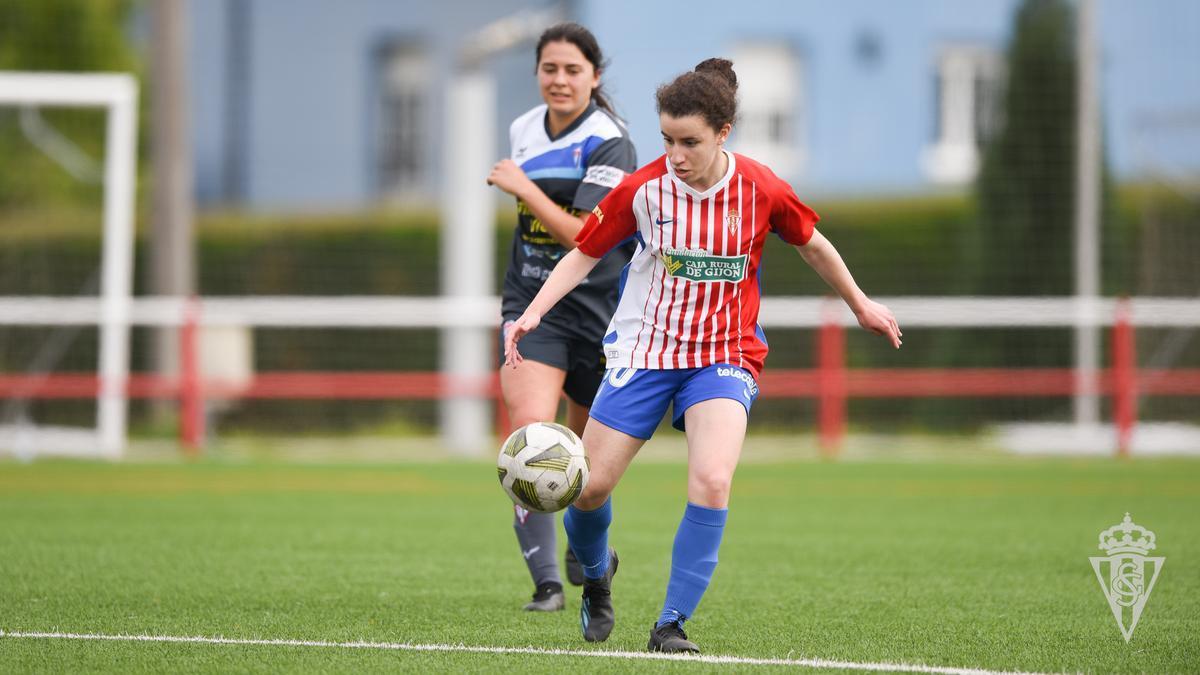 Sara Mssaflyam, en un partido con el Sporting