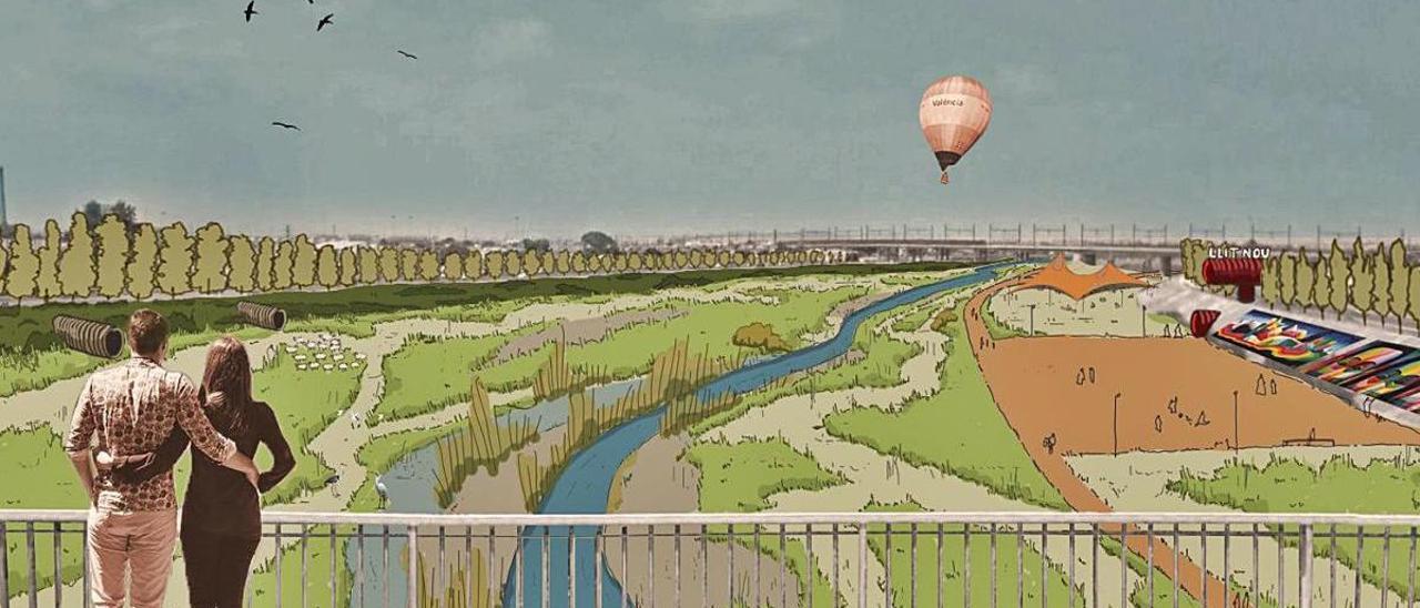 Una de las figuraciones del futuro parque del nuevo cauce del Turia.