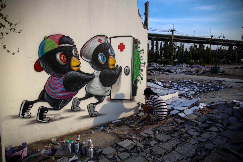 Arte callejero contra el coronavirus
