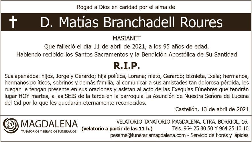 D. Matías Branchadell Roures