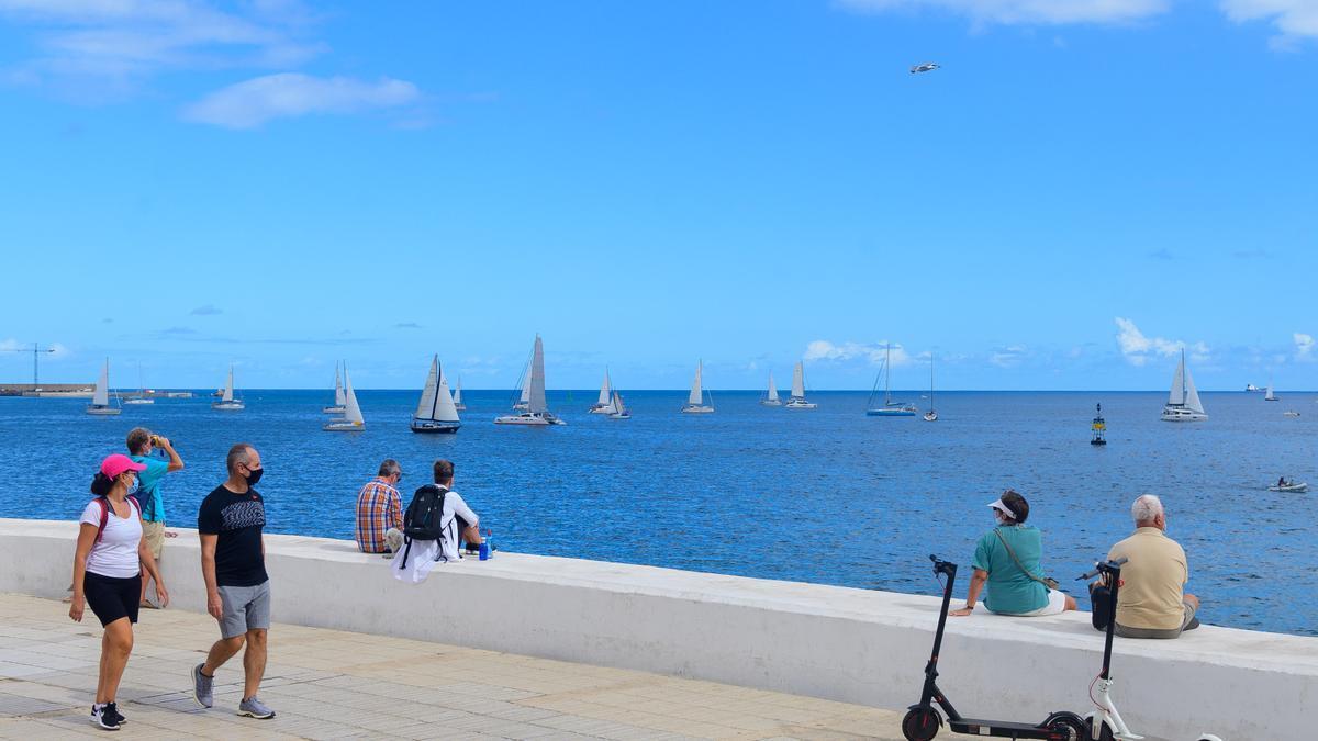 Departure of the ARC Plus, today, from Avenida Marítima in Las Palmas de Gran Canaria.