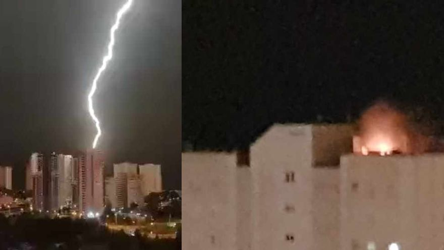 El rayo sobre el cielo de Benidorm y las llamas en la azotea del rascacielos