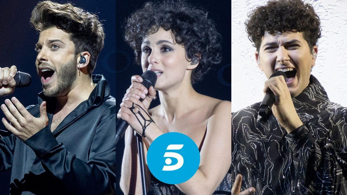 Blas Cantó, Barbara Pravi y Gjon's Tears, participantes de Eurovisión 2021 e invitados en la entrevista de Rocío Carrasco en Telecinco.