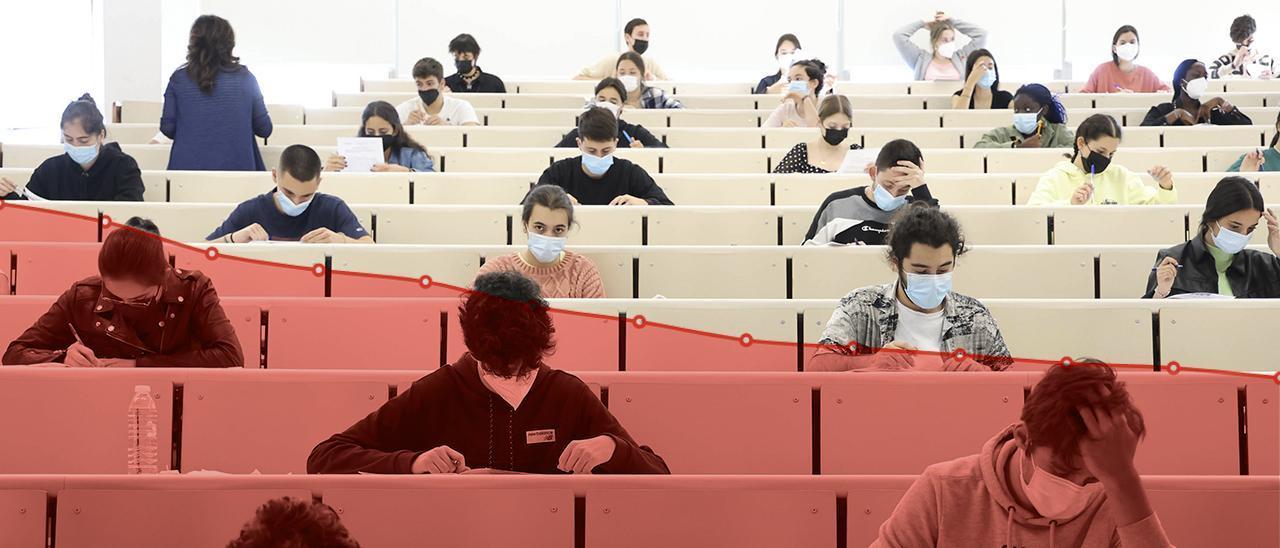 Imagen de fondo: exámenes de Selectividad en la Facultad de Empresarial de la Universidad de Vigo