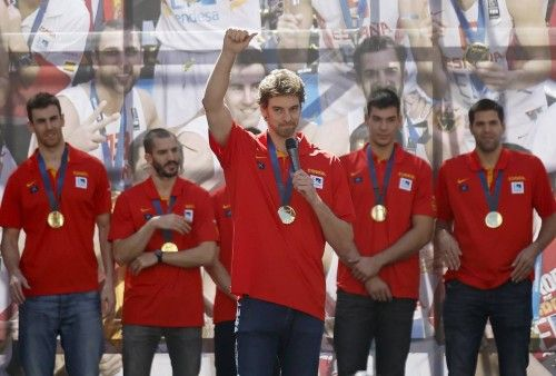 Gasol greets supporters at a celebration the day after winning their EuroBasket 2015 final, during a ceremony in central Madrid