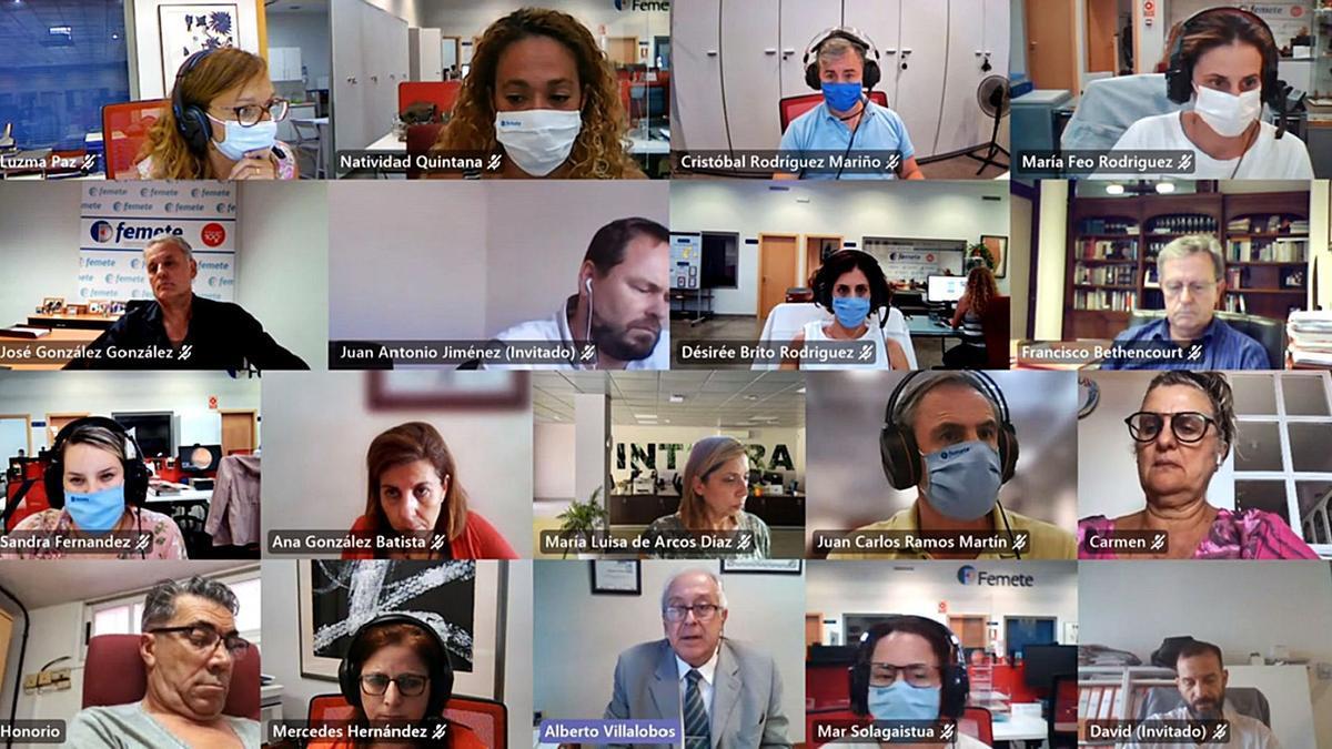 Alberto Villalobos, el tercero de la izquierda de la cuarta columna, participó recientemente en un encuentro virtual con asociados de Femete.     E.D.