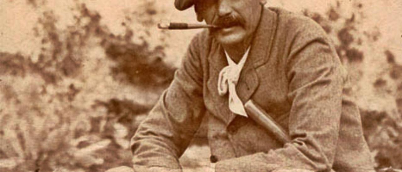 Retrato de Benito Pérez Galdós en una finca de Gran Canaria.