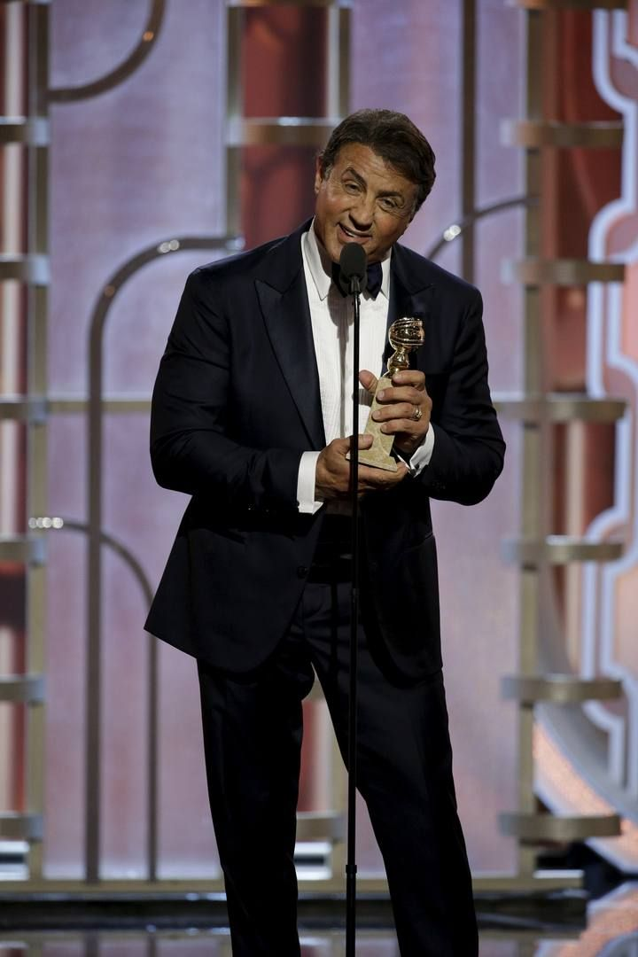 "Handout of Stallone after winning Best Supporting Actor - Motion Picture for his performance in ""Creed"" at the 73rd Golden Globe Awards in Beverly Hills"