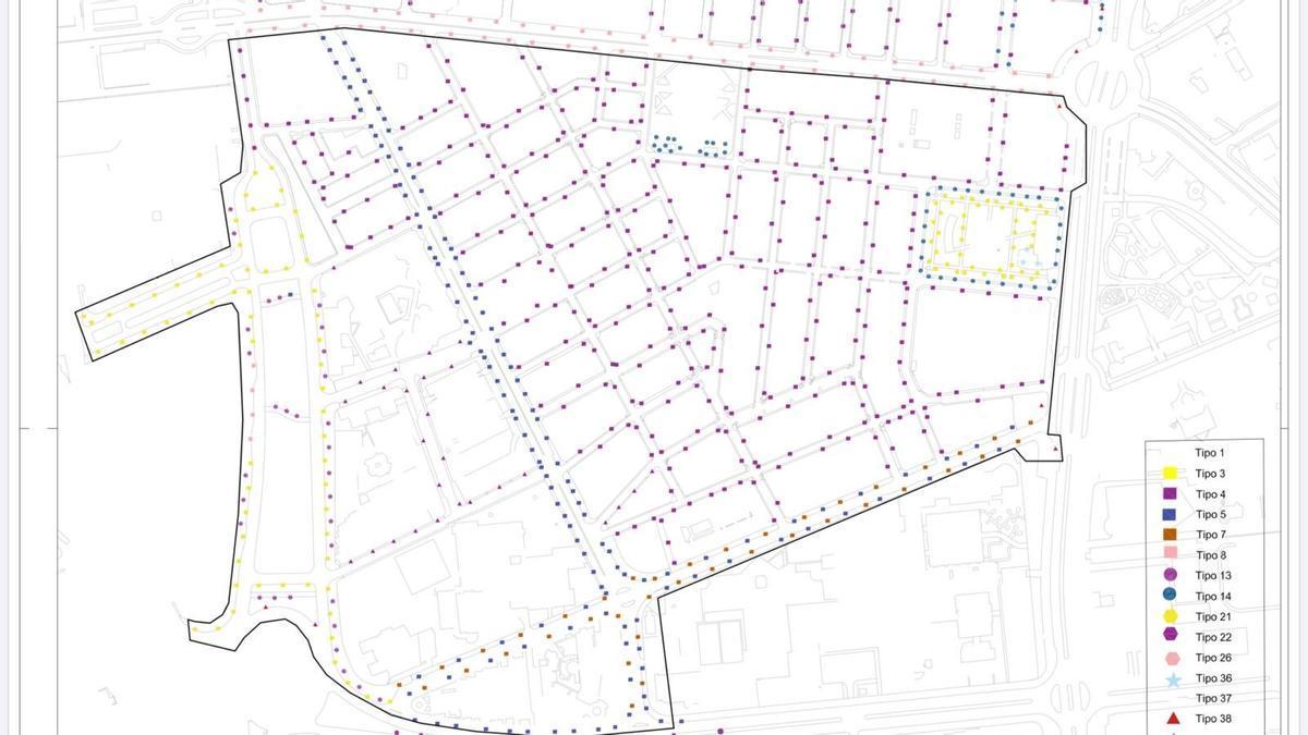 Mapa de las luminarias que se van a cambiar en Alicante