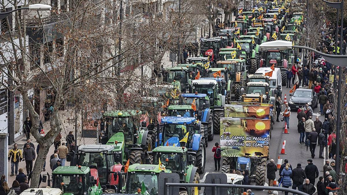 Tractorada en Zamora en enero de 2020.