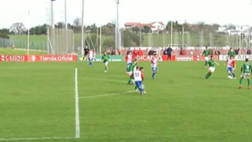 La acción del gol en clara posición legal de Berto protestado por el Sporting B