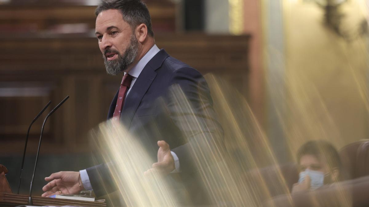 El líder de Vox, Santiago Abascal, en una sesión de control al Gobierno en el Congreso.