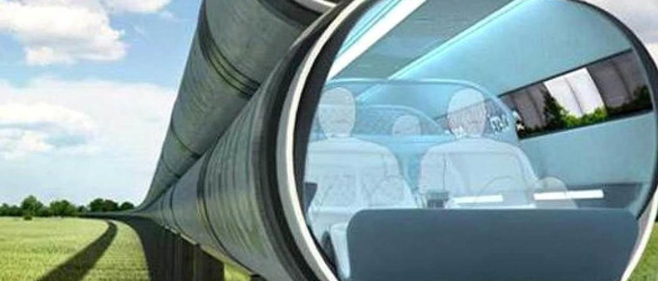 "Recreación de un trazado de ""Hyperloop""."