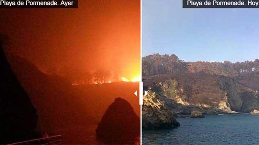 El antes y el después de las llamas