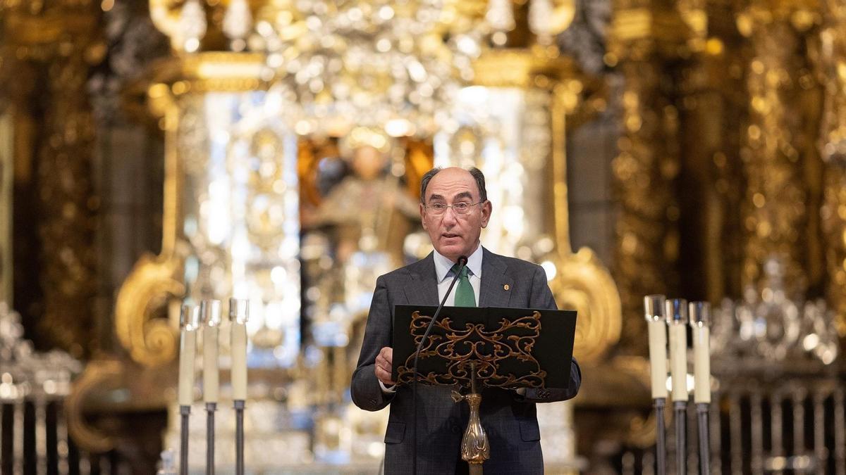 Ignacio Galán, durante la inauguración de la iluminación de la Catedral de Santiago.