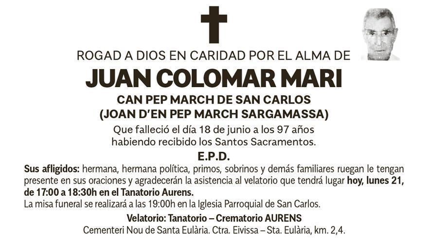 Esquela Juan Colomar Marí