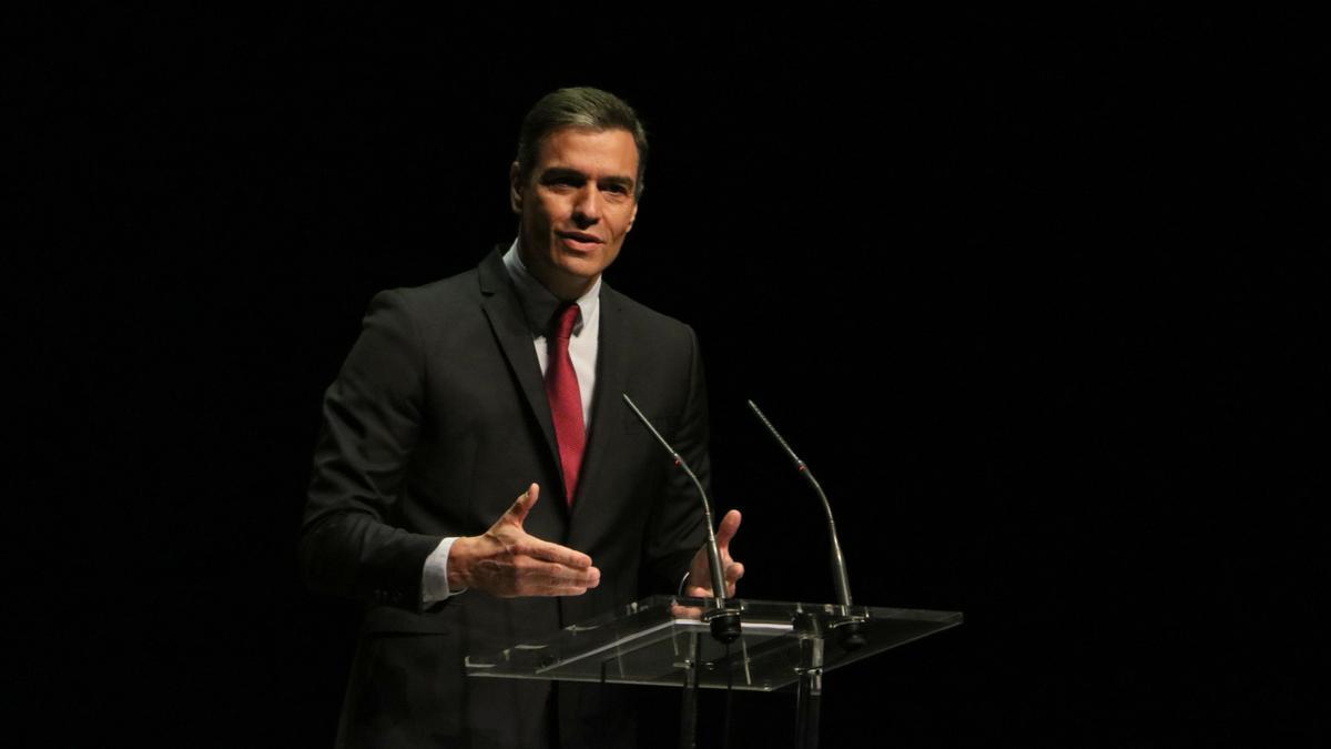 El president del govern espanyol, Pedro Sánchez, en l'acte al Liceu
